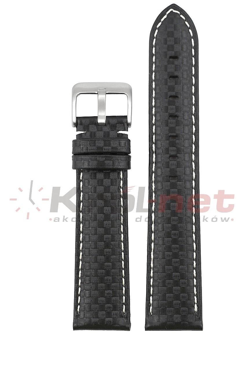 Pasek CH005/B/24 - karbon, czarny, jasne nici