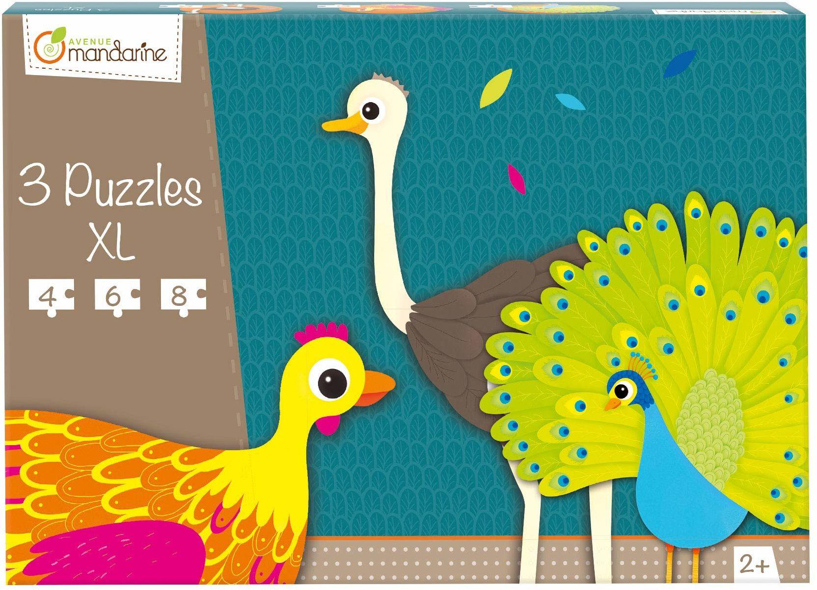 Avenue Mandarine 42701O Puzzles XL, idealne dla dzieci od 2, 3 puzzle w 1, 1 sztuka, ptaki