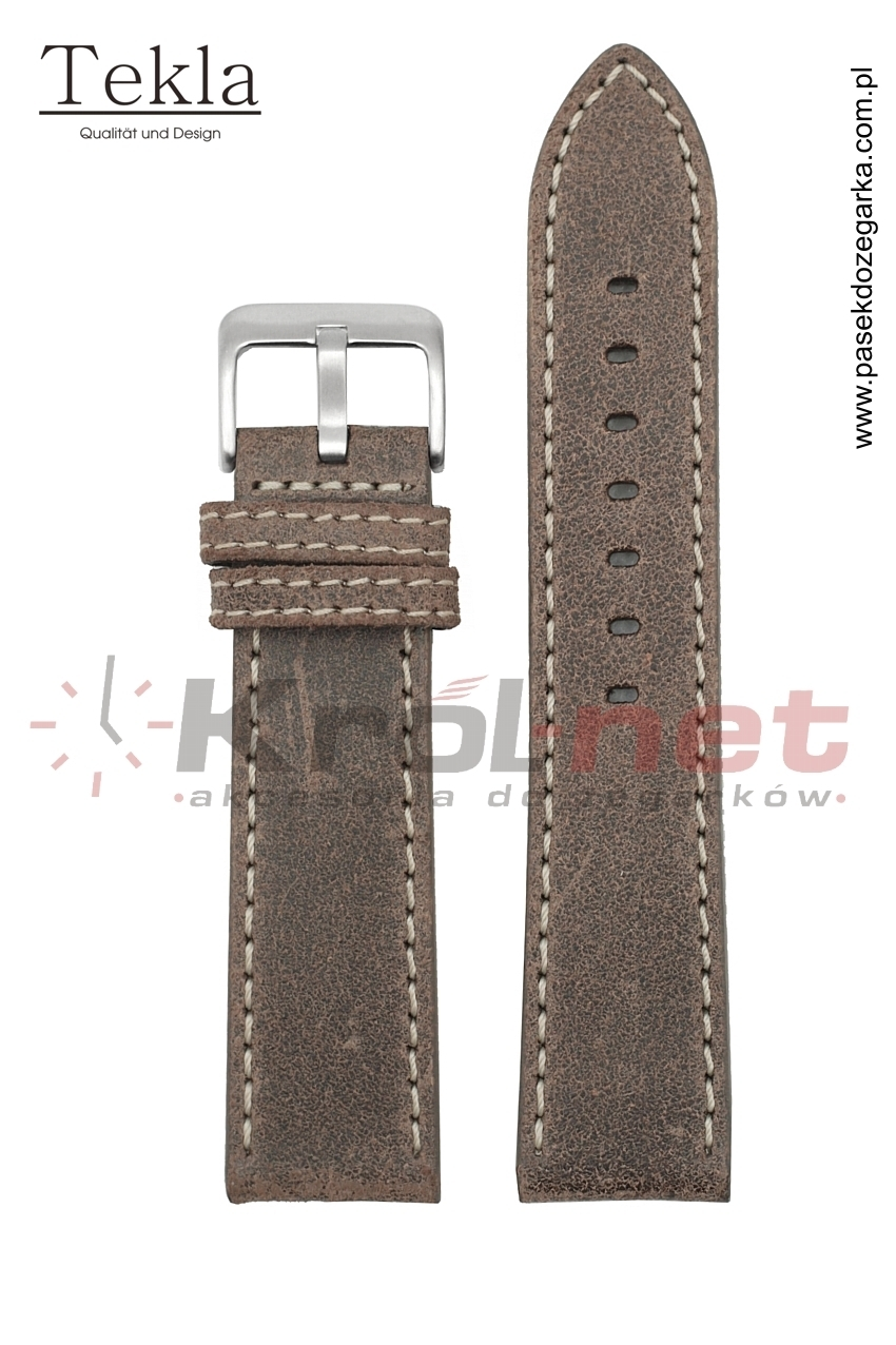 Pasek Tekla TK024BR/B/22 - brązowy, jasne nici
