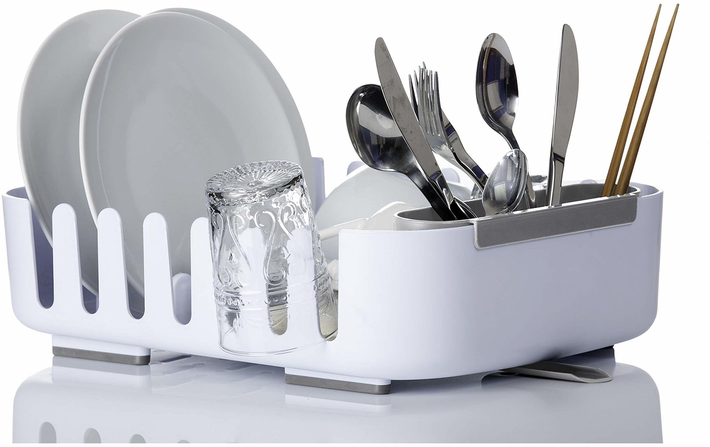 Vigar Rengo ociekacz do naczyń kuchennych z systemem odpływowym, tworzywo sztuczne, biały, 38,5 x 29 x 10,5