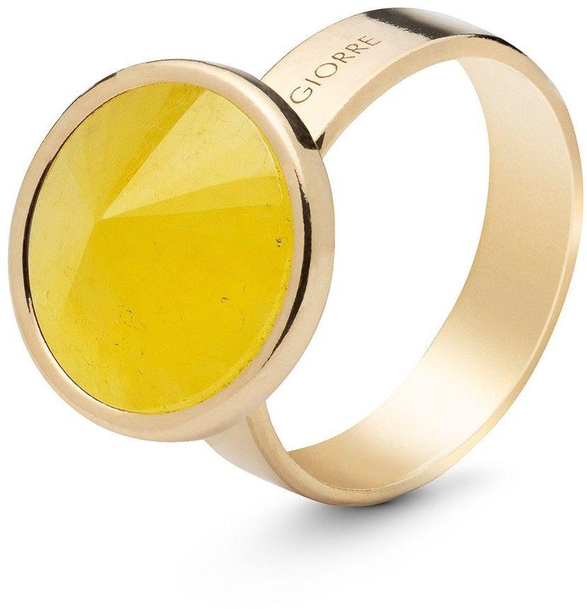 Srebrny pierścionek kamień naturalny chalcedon, srebro 925 : Kamienie naturalne - kolor - chalcedon żółty , ROZMIAR PIERŚCIONKA - 11 UK:L 16,00 MM, Srebro - kolor pokrycia - Pokrycie żółtym 18K zło