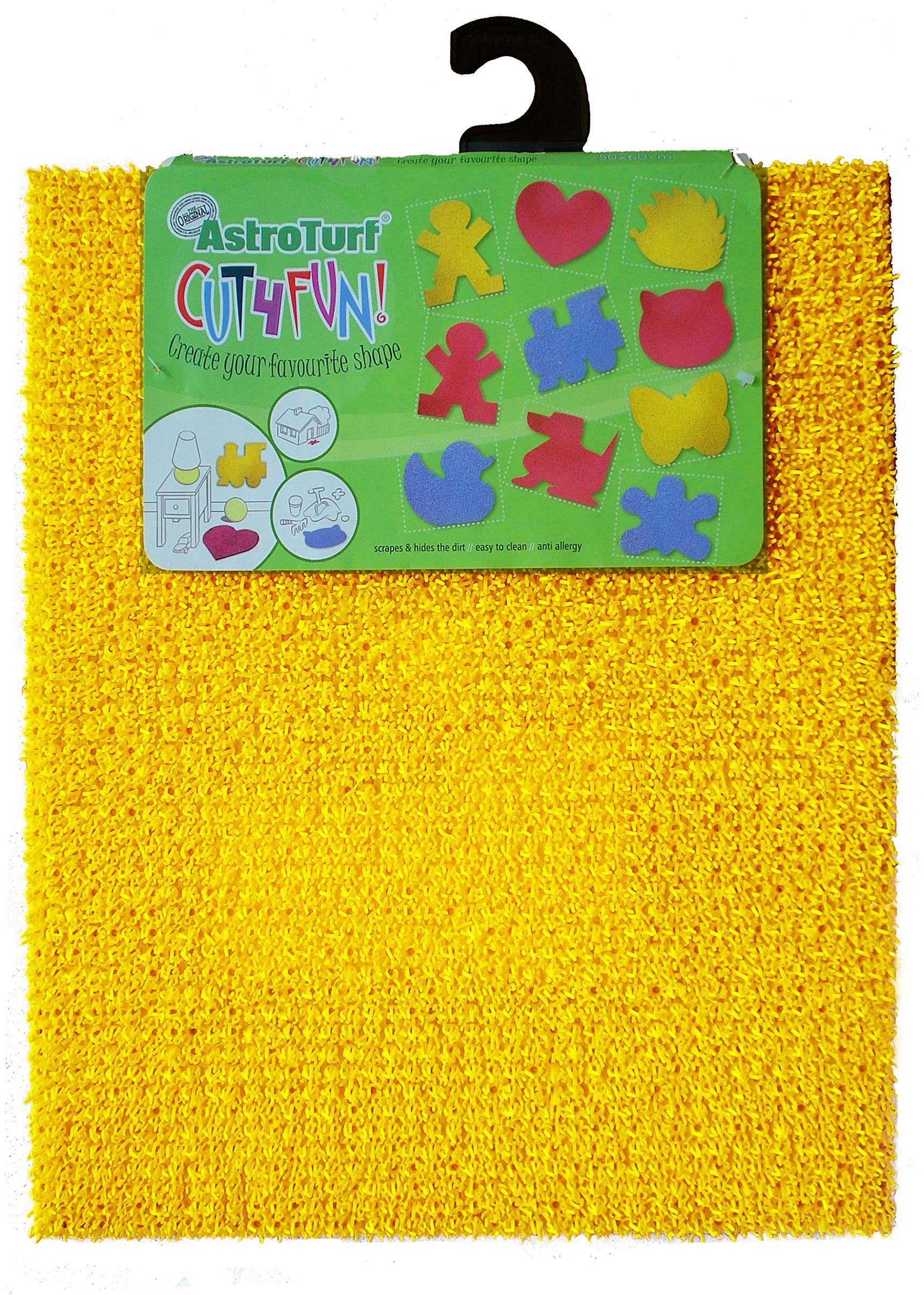 AstroTurf Cut4Fun Do it yourself dekoracyjna mata, serce, pies, kot, motyl, dziewczynka, chłopcy, na zewnątrz/wewnątrz, ściana/podłoga, polietylen, żółty, 60 x 50 x 2 cm