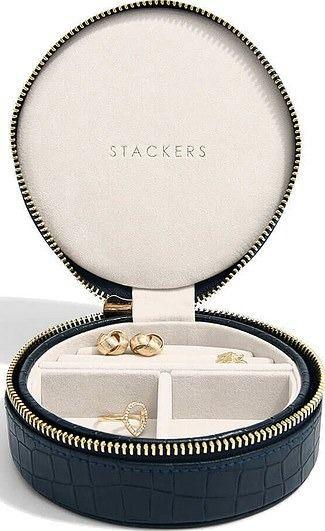 Pudełko na biżuterię podróżne travel croc okrągłe granatowe
