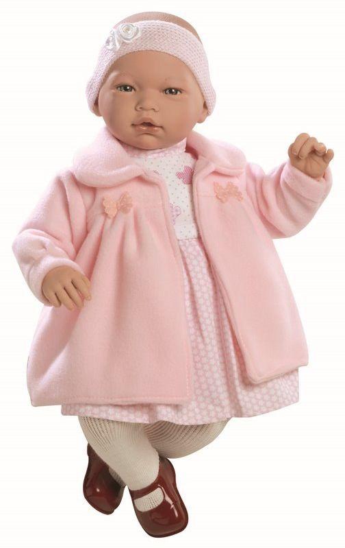 Lalka hiszpańska bobas Nadia w różowym płaszczyku - 46 cm