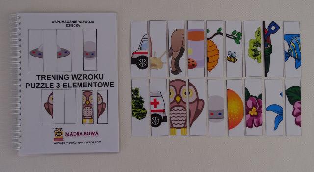 """Kreatywna książka """" Trening wzroku- puzzle 3- elementowe"""""""