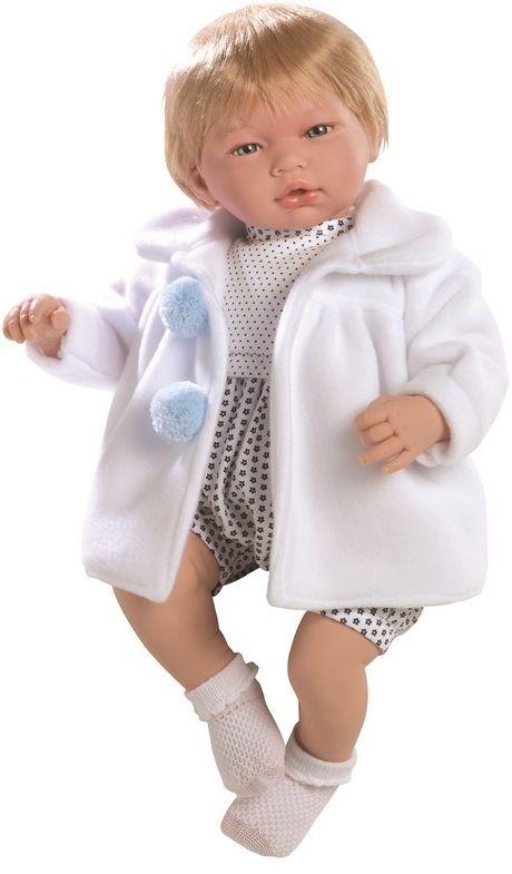 Lalka hiszpańska chłopczyk Adrian w białym płaszczyku z pomponami - 46 cm