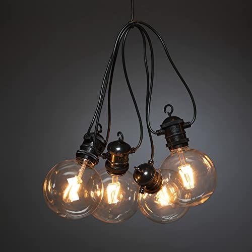 Łańcuch świetlny LED globe do ogródka piwnego, wzornictwo retro, 10 jasnych żarówek/10 diod w kolorze bursztynowym, na zewnątrz (IP44), 7 W, czarny kabel