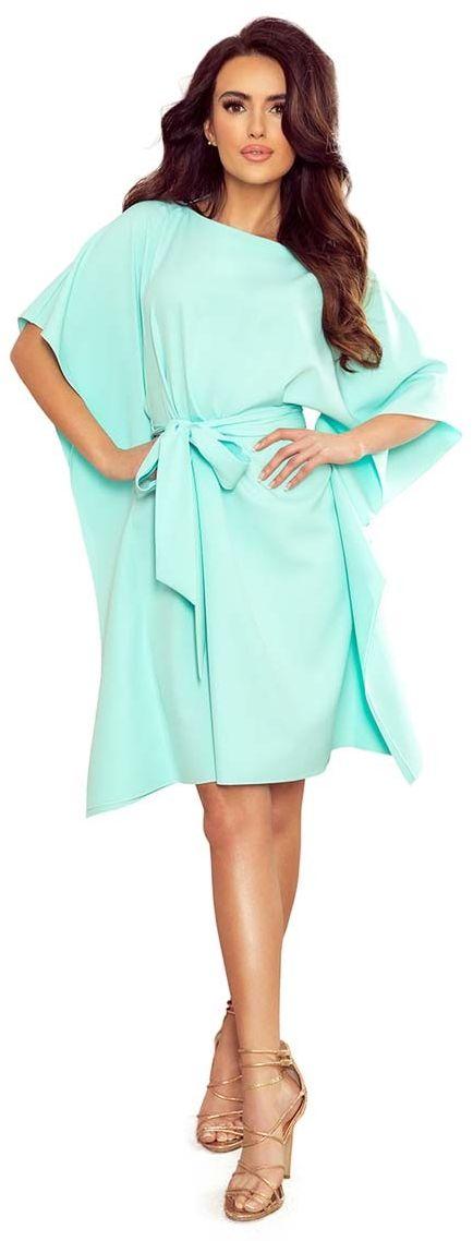 Miętowa sukienka typu motyl z paskiem
