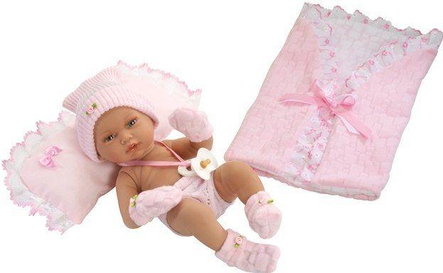 Hiszpańska lalka bobas Rosa z poduszką i becikiem