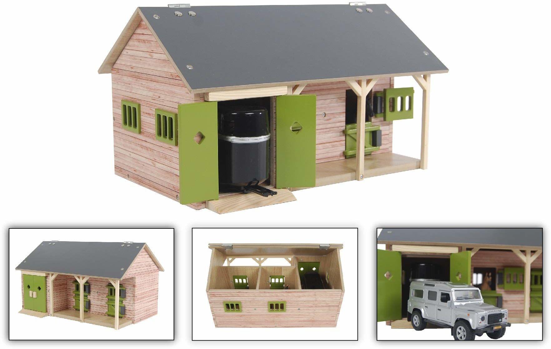 Kids Globe Stajnia dla koni 1:32 (z 2 pudełkami na konie, 1 przestrzeń do przechowywania, bez koni i akcesoriów, domek dla dzieci, kolor drewna/zielona) 610249
