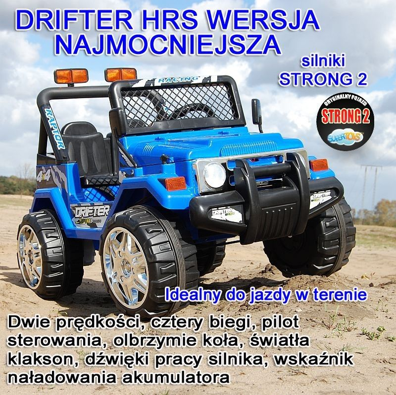 Olbrzymi terenowy Drifter 2 HRS osobowy z pilotem, miękkie koła, nowoczesny panel, 2.4 Ghz/ S-618