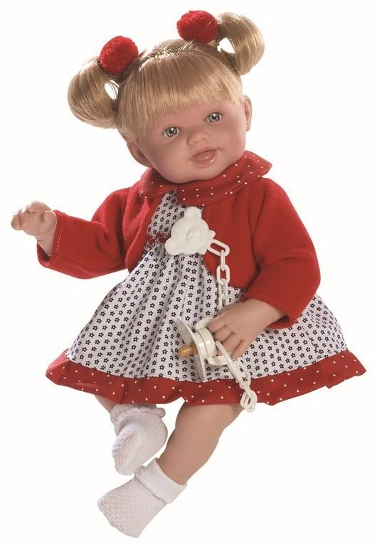 Lalka hiszpańska dziewczynka Brenda ruda w czerwonym sweterku - 38 cm