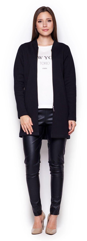 Czarna dłuższa prosta kurtka ze stójką na zamek