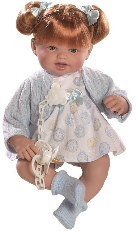 Lalka hiszpańska dziewczynka Brenda ruda w niebieskim sweterku - 38 cm