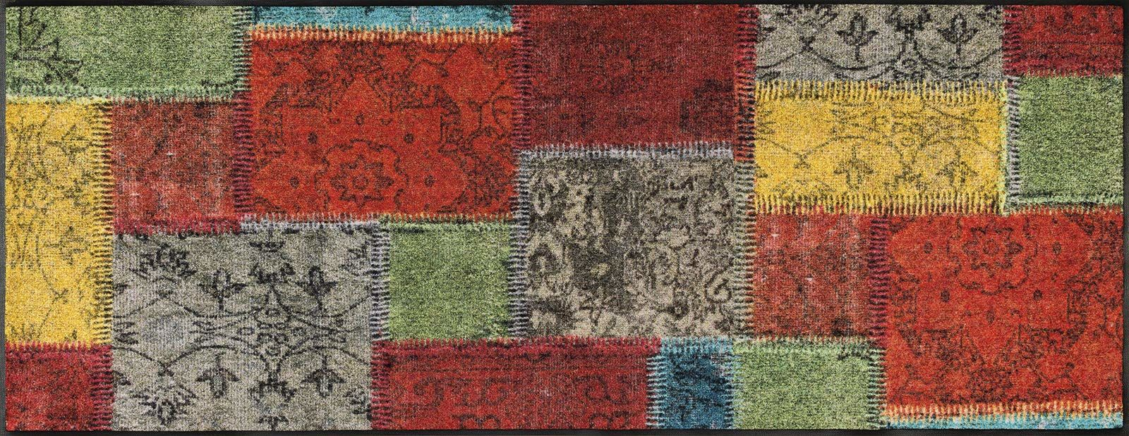 wash+dry wycieraczka Vintage Patches, 75 x 190 cm, wewnętrzna, nadaje się do prania, kolorowa