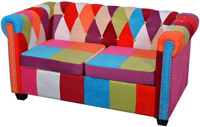 Sofa patchwork chesterfield Triss - dwuosobowa