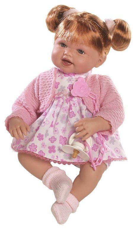Lalka hiszpańska dziewczynka Brenda ruda w różowym sweterku - 38 cm