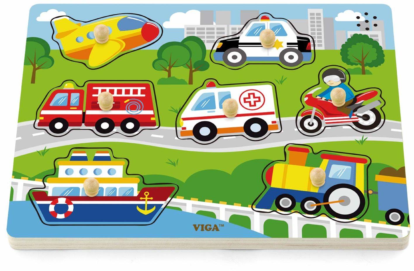 Viga Zabawki - 51274 - Puzzle dźwiękowe - Pojazdy