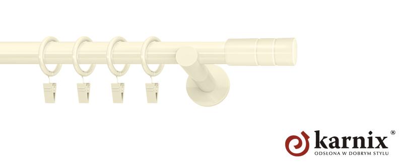 Karnisze nowoczesne NEO pojedynczy 19mm Cylinder ivory (kość słoniowa)