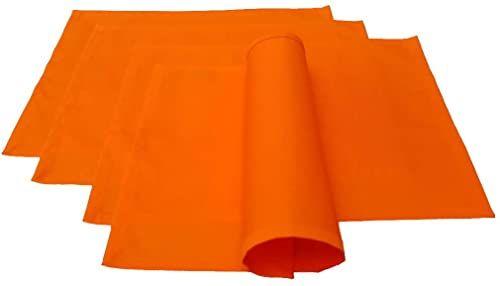 Lemos-Home zestaw podkładek stołowych 4 sztuki ok. 46 x 36 cm z bawełny wiele kolorów (pomarańczowy)