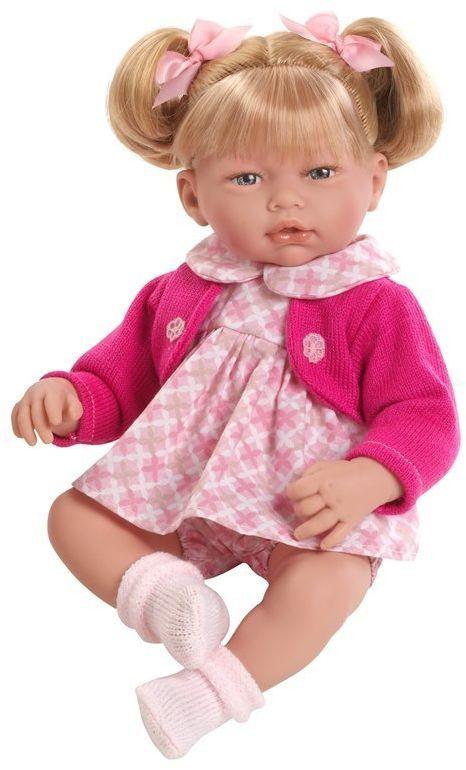 Lalka hiszpańska dziewczynka dla dzieci Alba w amarantowym sweterku - 38 cm