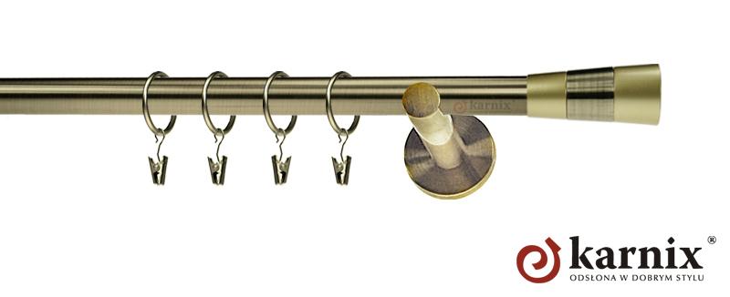 Karnisze nowoczesne NEO pojedynczy 19mm Doris antyk mosiądz