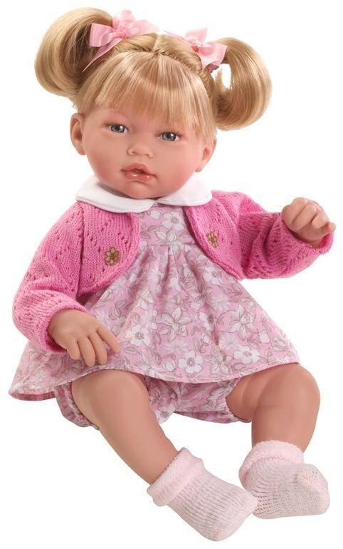 Lalka hiszpańska dziewczynka Alba w różowym sweterku - 38 cm