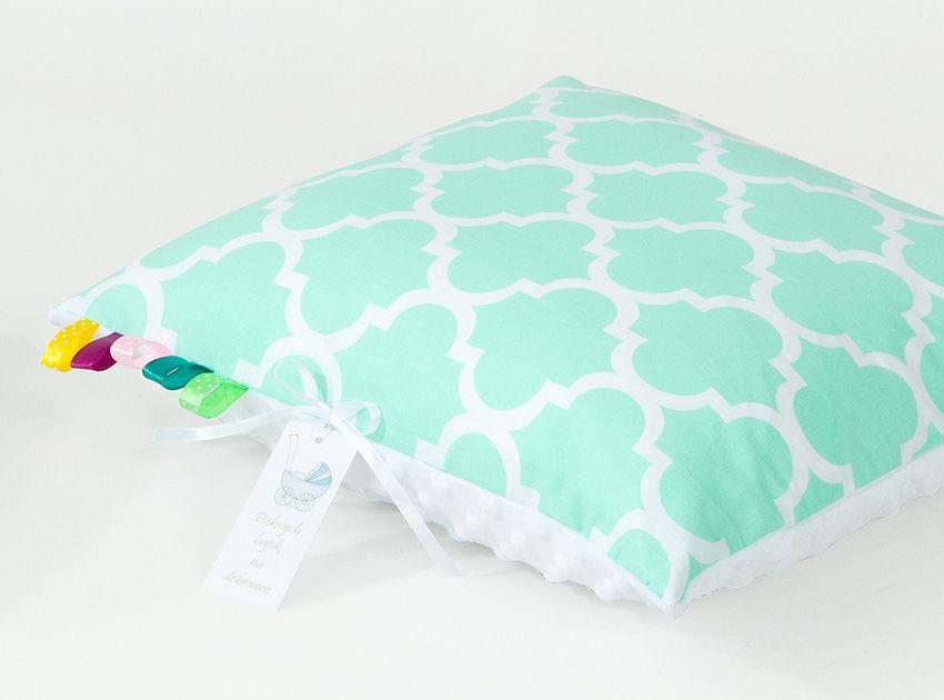 MAMO-TATO Poduszka Minky dwustronna 40x40 Maroko miętowe / biały