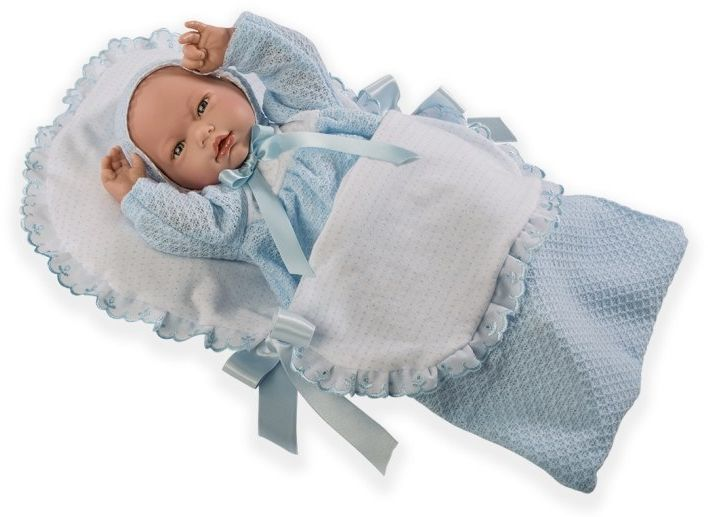 Lalka hiszpańska bobas Samuel w niebieskim beciku - 38 cm