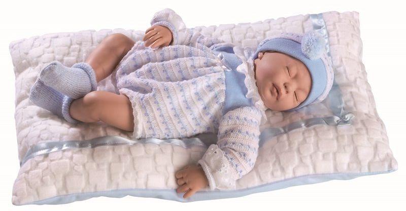 Lalka hiszpańska bobas Cris w biało-niebieskim body - 38 cm