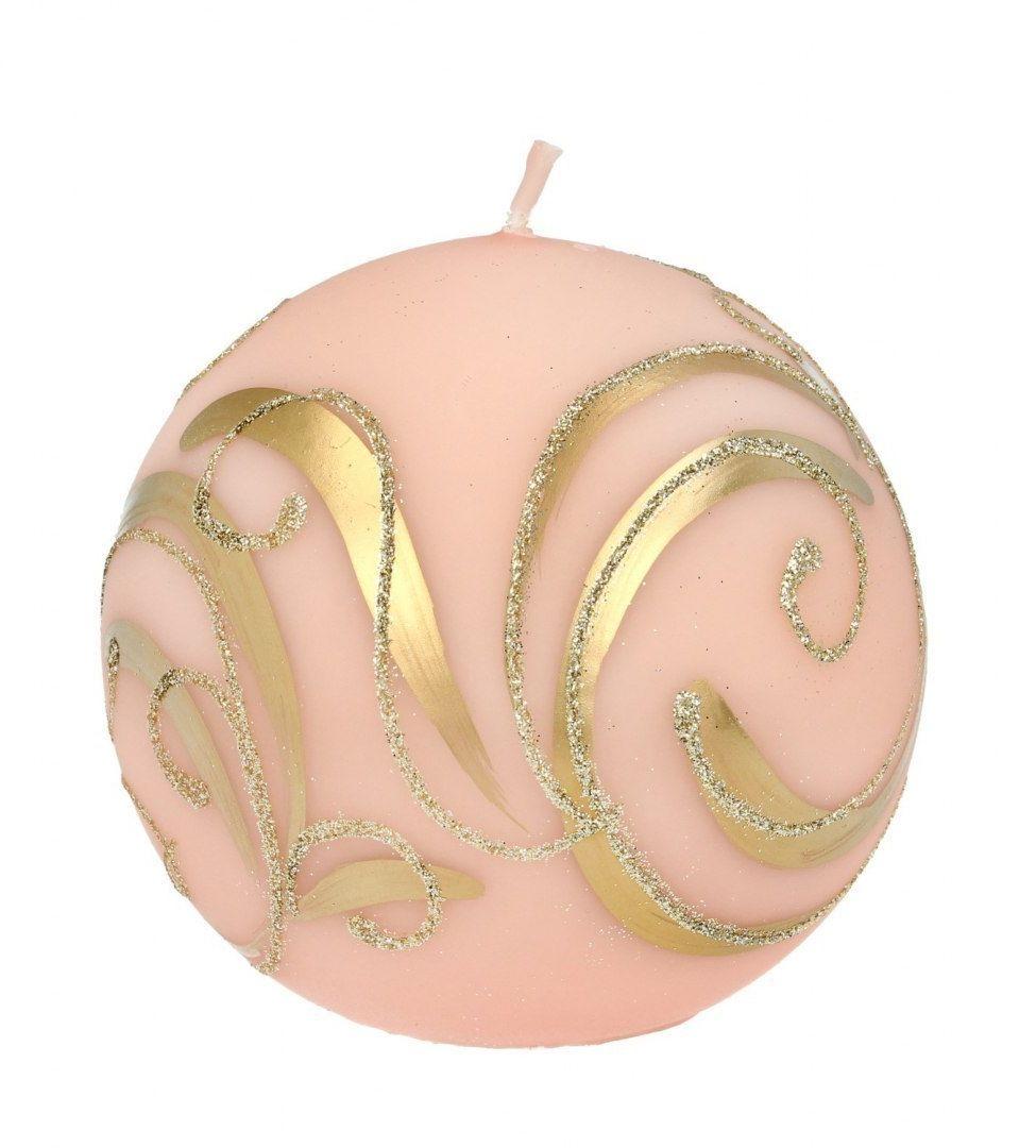 SWIECE ARTMAN Boże Narodzenie Świeca ozdobna Bombka rose gold - kula mała 1szt