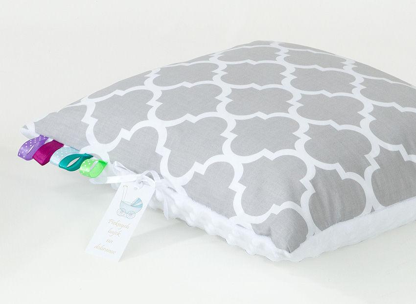 MAMO-TATO Poduszka Minky dwustronna 40x40 Maroko szare / biały