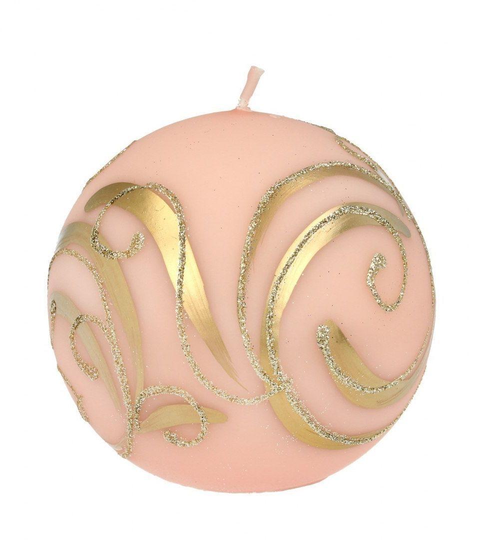 SWIECE ARTMAN Boże Narodzenie Świeca ozdobna Bombka rose gold - kula średnia 1szt
