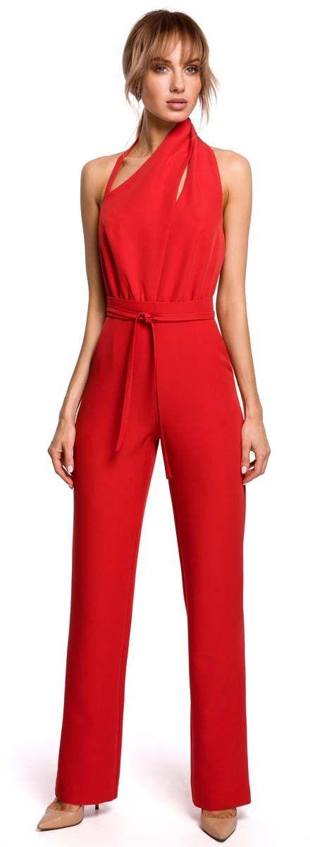 Elegancki kombinezon z asymetrycznym dekoltem - czerwony