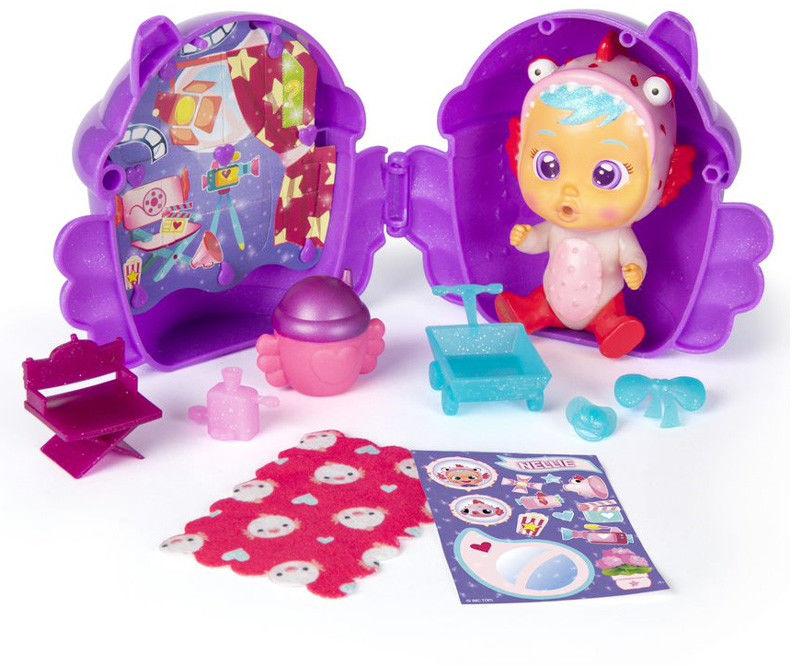 IMC Toys Cry Babies Magic Tears seria 2 brokatowa fioletowy domek 90859