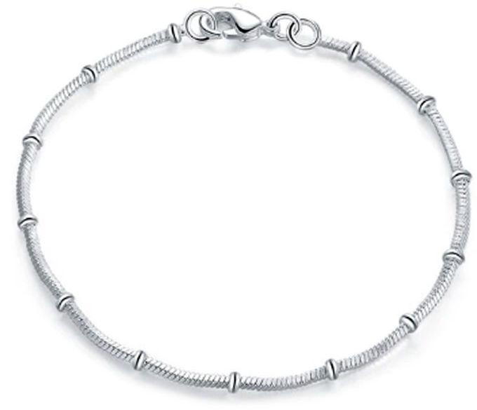 Srebrna bransoletka łańcuszkowa splot kostka