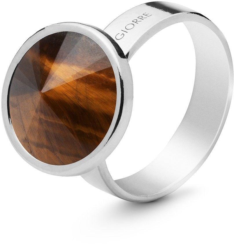 Srebrny pierścionek z naturalnym kamieniem - ciemnym, srebro 925 : Kamienie naturalne - kolor - tygrysie oko, ROZMIAR PIERŚCIONKA - 11 UK:L 16,00 MM, Srebro - kolor pokrycia - Pokrycie platyną