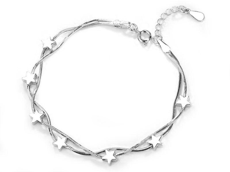 Srebrna bransoletka łańcuszkowa z gwiazdeczkami