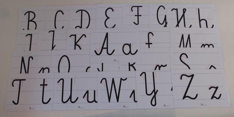 Litery pisane - karty edukacyjne A4