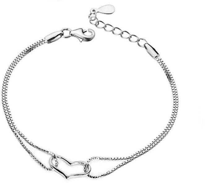 Srebrna bransoletka z podwójnym łańcuszkiem serce