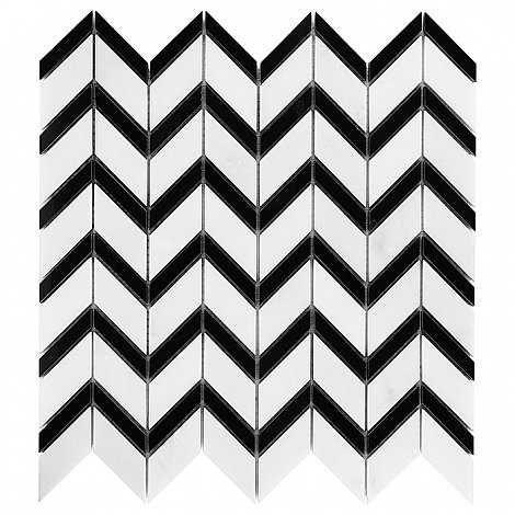 DUNIN B&W Black & White mozaika kamienna Pure White Chevron MIX