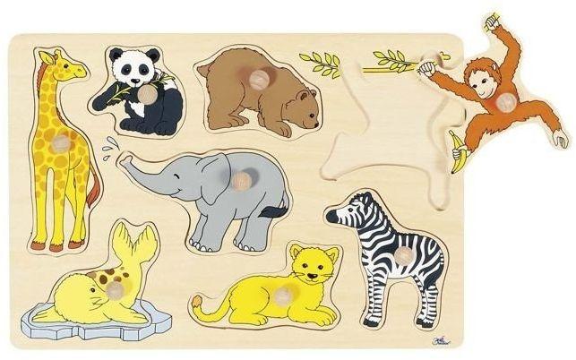 Foczka i przyjaciele z Safari - układanka drewniana, goki - układanki dla dzieci