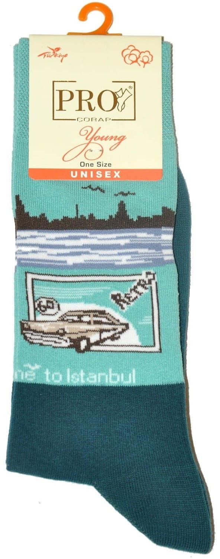 Skarpety męskie PRO wzorzyste 11008 turkusowe