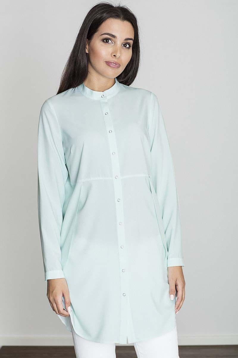 Miętowa koszula -tunika zapinana na zatrzaski