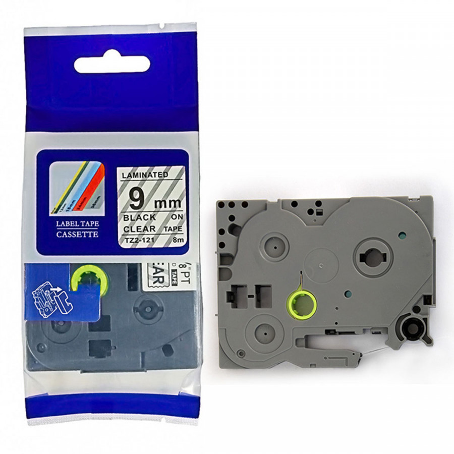 Taśma zamiennik Brother TZ-FX121 / TZe-FX121, 9mm x 8m, flexi, czarny druk / przezroczysty podkład