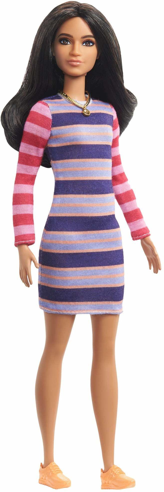 Barbie GHW61 - Barbie Fashionistas lalka 147 (brązowa) z sukienką w paski