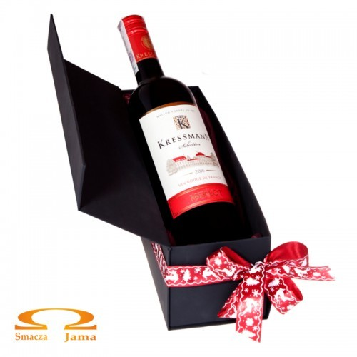 Zestaw Wino Kressmann Selection Merlot Francja 0,75l w ozdobnym pudełku