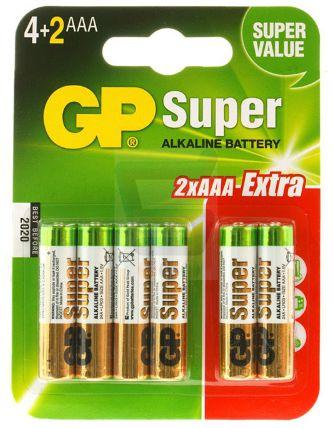 Bateria GP 1,5V AAA LR03 SUPER ALKALINE - 6 szt.