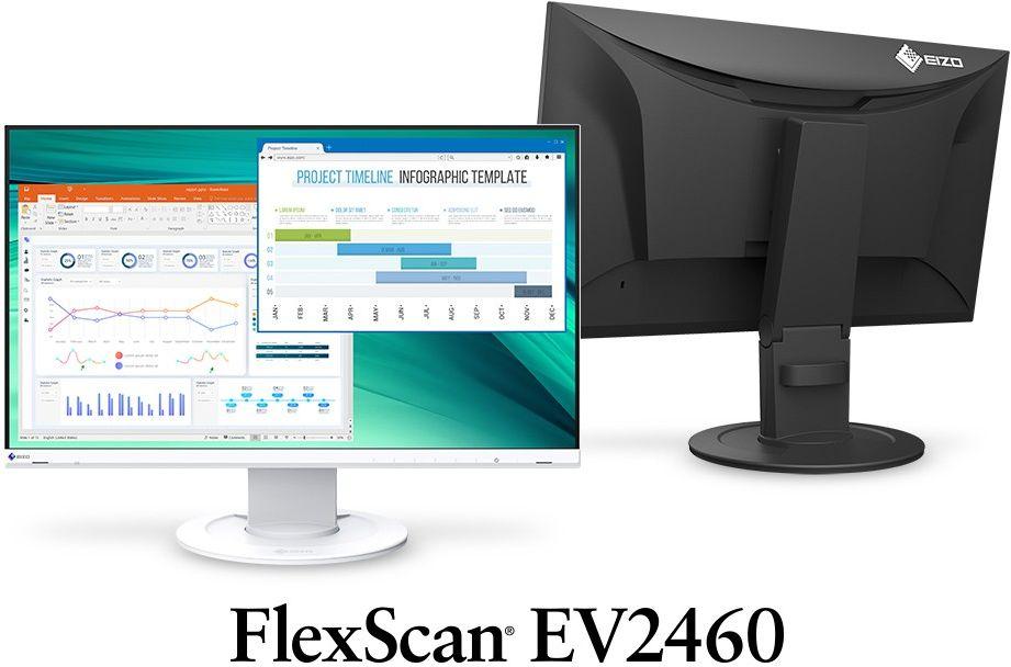 """EIZO EV2460-WB - monitor LCD 23.8"""" z regulowaną stopką (biały) - Certyfikaty Rzetelna Firma i Adobe Gold Reseller"""