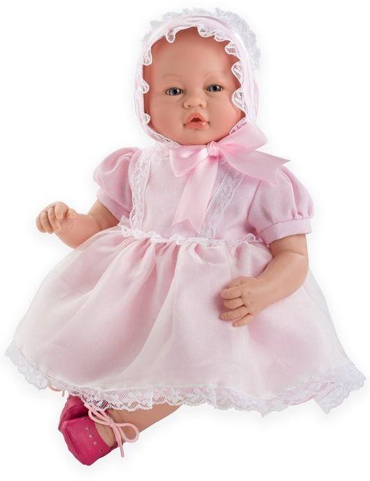 Lalka bobas dziewczynka Vera w różowej sukience - 46 cm